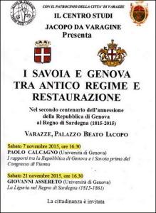 Varazze.7-21.10.2015.conferenze-sui-I-Savoia-e-Genova-tra-antico-regime-e-restaurazione-locandina