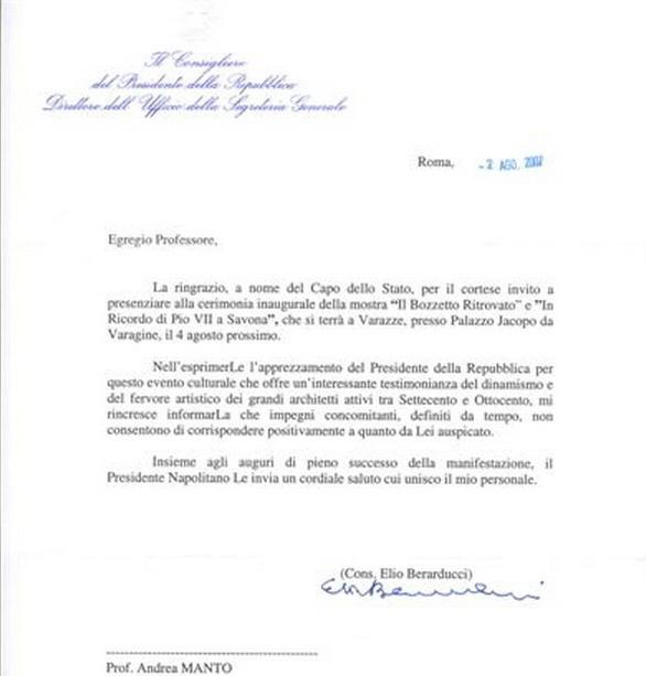 Lettera Ufficio di Presidenza del Quirinale